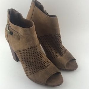 DV by Dolce Vita Tan Suede Peep Toe Ankle Boots